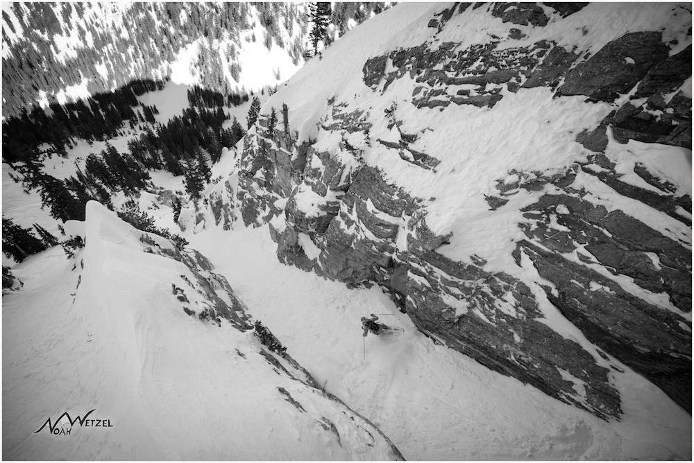 Lucy Sackbauer skiing a long tight chute off Fantasy Ridge at Solitude Mountain Resort, Utah